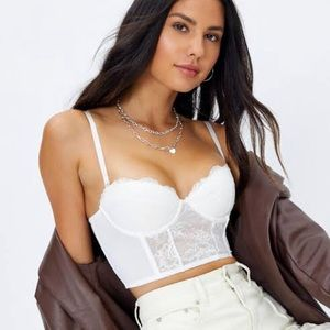 Glassons white lace corset top size 8